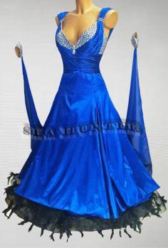 Feather Ballroom Standard Everday Tango Waltz Dance Dress US 8 UK 10 Blue Black | eBay