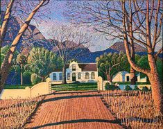"""""""Autumn at Boschendal"""" Acrylic on canvas 121 x152 cm I am still stuck in the Boland, Western Cape, South Africa doing my pointilism thing that is taking me days. #pietercronjeart #boschendal #Boland #westerncape Pointillism, South Africa, Cape, Autumn, Mansions, House Styles, Canvas, Places, Painting"""