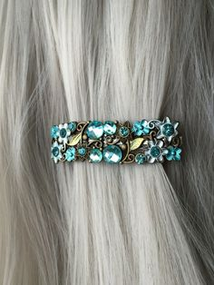 Gift-For-Her Hair Accessories for Women Clip - Jeweled Hair Clip Thin Hair  Clip - Blue Hair Clip - Jeweled Hair Barrette - Gift For Women 59d8968581de