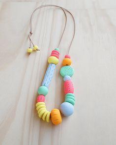 Handmade, Textured, Fancy Necklace - Canary, Duck Egg, Flamingo, Pumpkin & Spearmint on Etsy, $45.00 AUD