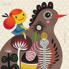 Helen Dardik - Avian Spirit... Clementine - limited edition giclee print of an original illustration (8 x 10 in). $25.00, via Etsy.