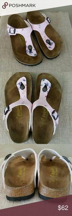 Papillo by Birkenstock Pink floral sandal thong 38 Papillo by Birkenstock sandals, floral pink, pre-owned, size 38, Birkenstock Shoes Sandals