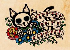 Day of the Dead CAT Dia de los Muertos Art Print 5 x 7 - Donation to Austin Pets Alive. (Always in my Heart)
