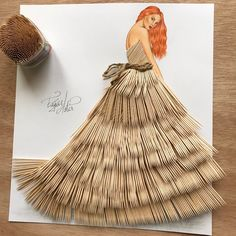 Haute couture made from everyday objects - the fashion drawings by Edgar Artis -. Arte Fashion, Paper Fashion, 3d Fashion, Fashion Beauty, Flower Fashion, Fashion Design Drawings, Fashion Sketches, Dress Sketches, Drawing Fashion