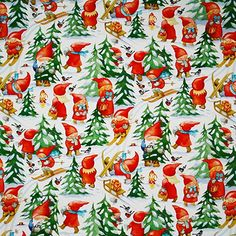 Amazon.com: ScandinavianShoppe Christmas Wrapping Paper - Busy Tomtar: Clothing
