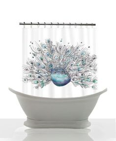 Artistic Shower Curtain  Glory Days Peacock  by ArtfullyFeathered, $60.00 watercolor