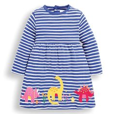 Based on our bestselling Girls' Essential Dress, the Blue Dinosaur Appliqué Dress is new this season, and offers a fun, modern take on the classic piece. Nautical stripes are reminiscent of our Breton roots, while the brightly-coloured dinosaur appliq Smart Casual Outfit, Casual Outfits, Pink Tights, Nautical Stripes, Cotton Cardigan, Applique Dress, Rain Wear, Simple Dresses, My Girl