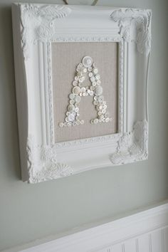 Personalized Monogrammed Button Display-White Ornate Picture Frame-Shabby Chic-Wedding Bridesmades-Baby Shower Nursery Gift