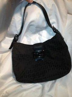 Pre Owned Authentic Fendi Black Signature FF Hobo Bag Purse | eBay
