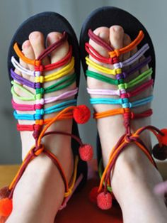 33cc9f0964a3 Thailand Miao embroidery color line ball of fluff centipede handmade sandals