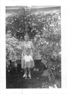 Photograph Snapshot Vintage Black and White: Grandma Boy Yard Smile 1940's