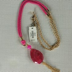 ☇☇2 Hour Sale. $20. Bead and tassel pendant Colors are lotus pink and gold. Talbots Jewelry