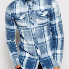 Are you looking for wholesale blue and white bold checked flannel shirts with best discounted price? Have a look at Oasis Uniform and get your bulk order with affortable price. Flannel Clothing, Flannel Outfits, Mens Flannel Shirt, Denim Button Up, Button Up Shirts, Best Uniforms, Sophisticated Outfits, Bulk Order, Shirt Sleeves