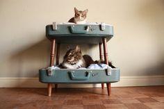 und...es gibt auch tolle Stockbetten für Katzen (hier von Salvage Shack über Etsy)