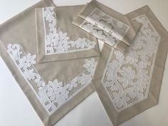 Cutwork Embroidery, White Embroidery, Point Lace, Filet Crochet, Home Textile, Sewing Hacks, White Lace, Needlework, Decoration