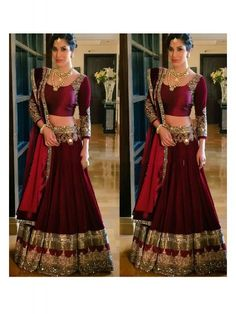 Maroon Color Art Silk Georgette Lehenga Choli