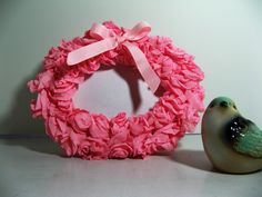 Crepe paper rose picture frame