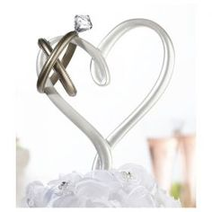 Buy Lillian Rose Wedding Rings-Topped Heart-Shaped Cake Pick and other party favors and personalized gifts. Wedding Cake Stands, Wedding Cake Toppers, Wedding Cakes, Rose Wedding Rings, Wedding Flowers, Ring Cake, Cake Picks, Butterfly Cakes, Cake Toppings