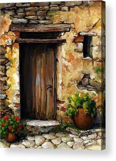 Mediterranean Portal Acrylic Print by Emerico Imre Toth. All acrylic prints are professionally printed, packaged, and shipped within 3 - 4 business days and delivered ready-to-hang on your wall. Choose from multiple sizes and mounting options. Cool Paintings, Landscape Paintings, Building Painting, Canvas Art, Canvas Prints, Art Watercolor, Painting Techniques, Painting Inspiration, Flower Art