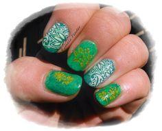 My nail stamping art: Saran wrap base using CC Wild Cactus & Stamping with SA-11 in Konad White & SHID Lightening