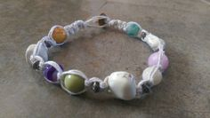 Check out this item in my Etsy shop https://www.etsy.com/listing/221987075/multi-color-gemstone-hemp-anklet-beach