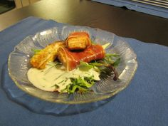 Something I improvised... Glazed Salmon, wrapped in Serrano Ham, served with Haloumi cheese and fresh salat and a Rosemary/chives sauce