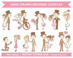 Hand Drawn / Vintage Wedding Couple (Part 2) - Digital Clipart Set #1 of this cute wedding collection can be found here: