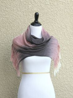 Hand woven long scarf gradient color pink cream dark grey blanket scarf with fringe  Hand woven long scarf with g... #kgthreads #sellertools