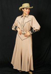 Beige yoked western style gored skirt is trimmed with black piping. Elastic back makes it an easy fit. Closes with zipper. Poly/Rayon or Rayon. Hand wash or Dry clean Western Outfits Women, Western Wear For Women, Western Dresses, Women Wear, Gored Skirt, Western Style, Well Dressed, Westerns, Western Apparel