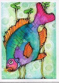 """Pink Tailed Fish"" watercolor ATC by Bonnie Tincup"