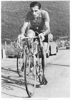 Fausto Coppi on Way to Winning World Championship. by Paris-Roubaix,