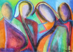 Figurative soft pastel drawing print (Adoring Mothers)