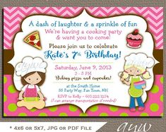 Baking Birthday Invitation Girl Birthday Baking Party Invitation Pizza Party Invites Cupcakes Baking Printable Owl Polka Dots Chevro ANY AGE Birthday Party Invitations, Baby Shower Invitations, Invites, Princess Birthday, Girl Birthday, Printable Invitations, Printables, Baking Party, Girl Themes
