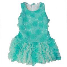 efb69418465 Isobella   Chloe Elsa Aqua Flower Drop Waist Dress