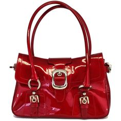 Pre-owned Stuart Weitzman Red Patent Leather Shoulder Bag ($87) ❤ liked on Polyvore featuring bags, handbags, shoulder bags, shoulder handbags, red purse, accessories handbags, red patent leather purse and preowned handbags