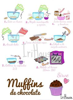 { IriHouse }: { Dibu-Recetas } Baking Cupcakes, Cupcake Cookies, Kitchen Recipes, Cooking Recipes, Baking Store, No Cook Desserts, Food Drawing, Oatmeal Recipes, Food Illustrations