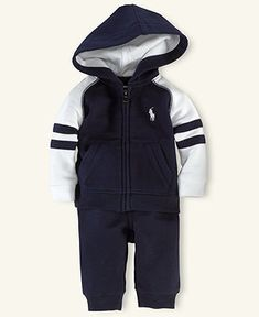 Ralph Lauren Baby Set, Baby Boys French Terry Hoodie and Pants - Kids Newborn Shop - Macy's