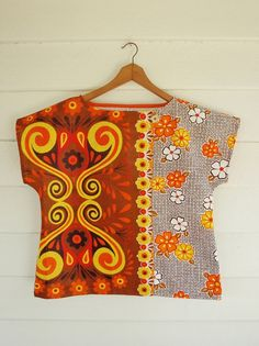 Upcycled Womens Shirt --Vintage Linen Tea Towel and vintage fabric Blouse Vintage, Vintage Linen, Upcycled Vintage, Sewing Clothes, Diy Clothes, African Fabric, African Prints, Refashion, Cotton Linen