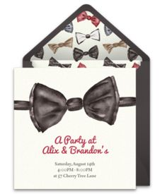 We love this simple fancy invitation featuring a bow tie design! Perfect for a birthday party, a cocktail party, and more! Easily personalize and send via email.