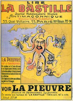 The last image is another French poster. It is an anti-semitic, Free Mason octopus. It shows an octopus with a human head on a map of France (more information).