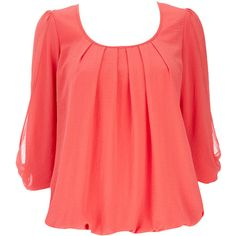 Coral Blouse ($52) ❤ liked on Polyvore