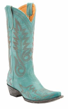 The perfect wedding boot!  Old Gringo® Women's Nevada Destroyed Turquoise Fancy Stitched Snip Toe Western Boots