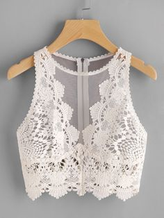 croptop fiesta Scallop Lace Applique Exposed Zip T - croptop Look Fashion, Fashion Outfits, Womens Fashion, Cooler Look, Body Suit Outfits, Trendy Swimwear, Crop Tops, Tank Tops, Women's Tops