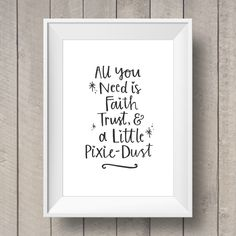 Tinkerbell 'Pixie-Dust' Quote - Nursery Printable - Girls Bedroom - Disney Quote - Nursery Artwork - Hand Lettering - Peter Pan Quote by TheGingerLlama on Etsy https://www.etsy.com/listing/226927888/tinkerbell-pixie-dust-quote-nursery