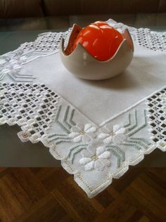 Hardanger: I made this one from a kit we bought in Norway.