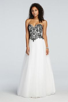Floral Beaded Prom Dress with Tulle Net Skirt 50822