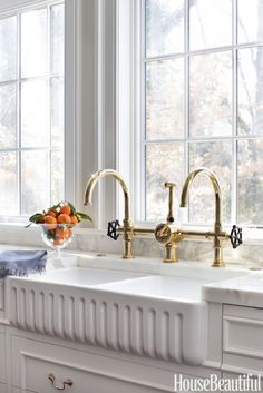 UTILITARIAN CHIC: an industrial-style faucet: Waterworks' Regulator, which is modeled on fixtures found in turn-of-the-20th-century boiler rooms. #WATERWORKS #KITCHEN #FAUCET