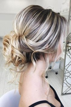 48 Hottest Bridesmaid Hairstyles For 2019 + Tips & Advice hottest bridesmaids hairstyles ideas messy low updo with loose curls elstilespb Face Shape Hairstyles, Up Hairstyles, Straight Hairstyles, Braided Hairstyles, Short Formal Hairstyles, Holiday Hairstyles, Medium Hair Styles, Short Hair Styles, Up Styles