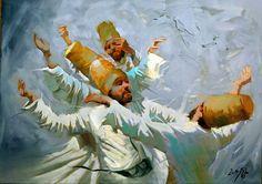 Beautiful painting by Iraqi artist ALI NEMAH ,that shows the whirling dervishes, the followers of Mevlânâ Jalāl ad-Dīn Rūmī. (poet, jurist, Islamic scholar, theologian, and Sufi mystic)