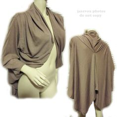 *SOLD* USA MADE NEW BEIGE TAUPE BROWN 3/4 SLEEVE Drape BOLERO BLAZER Wrap Cape TOPS TOP $1 sorry SOLD!   #SureCouture #Wrap #EveningOccasion